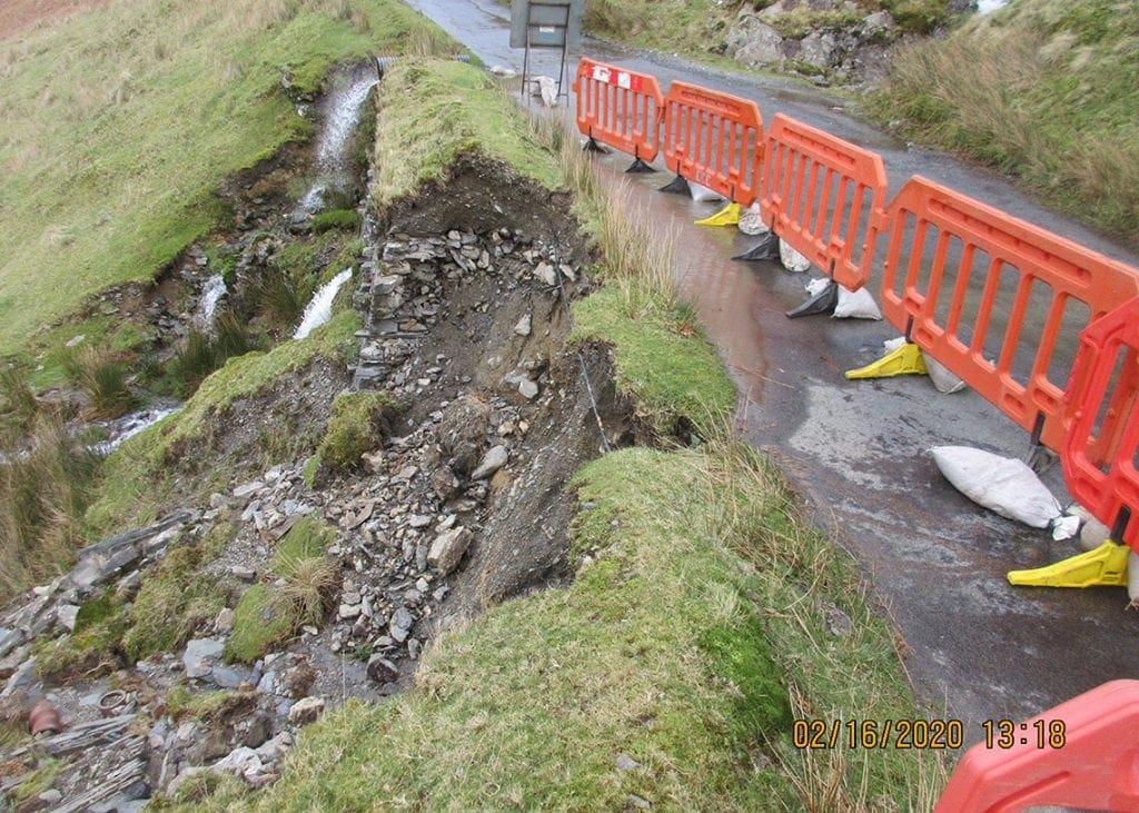 The extent of the damage caused to Borrowdale Road