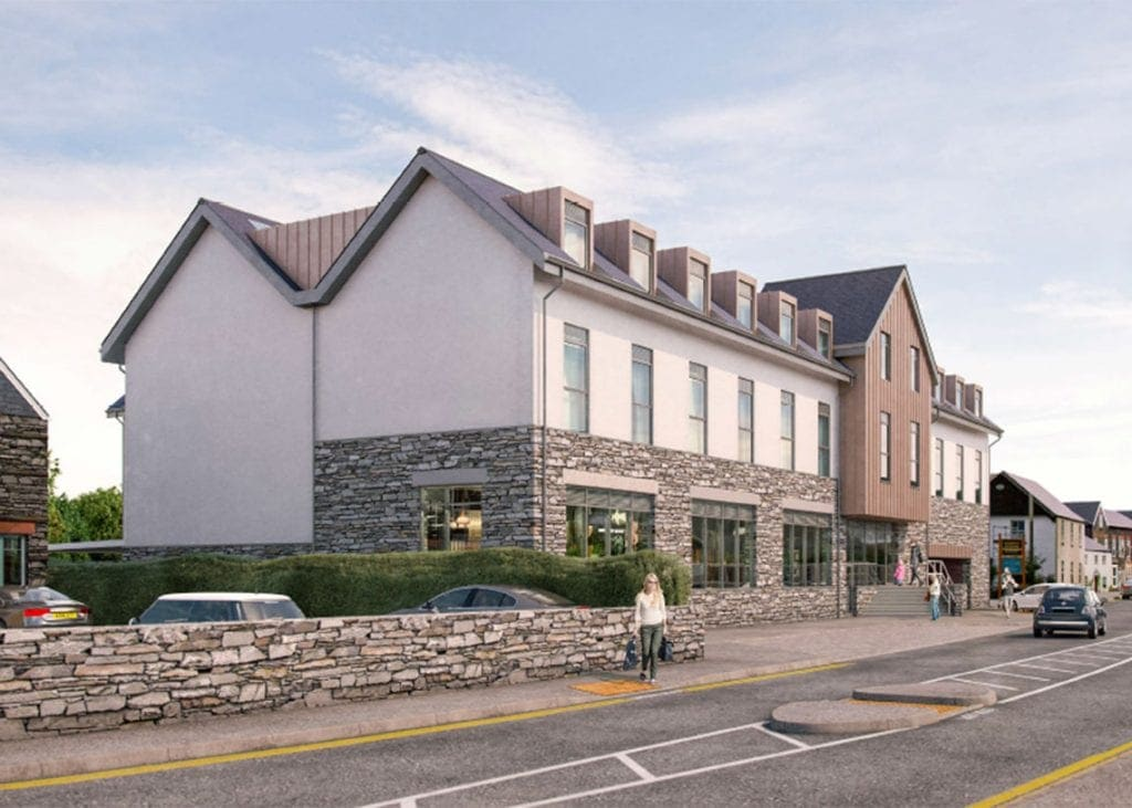 A computer generated image of the proposed Premier Inn hotel in Keswick's High Hill