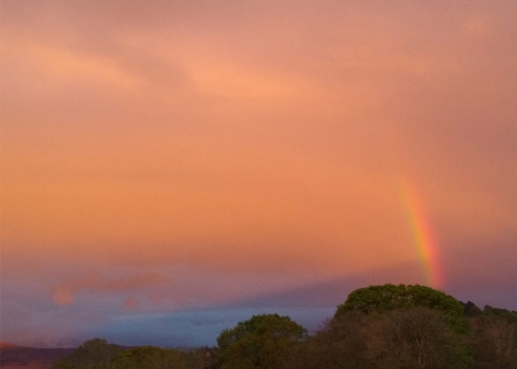 The amazing colours in the sky over Keswick and a fragment of rainbow captured by Sue Grant