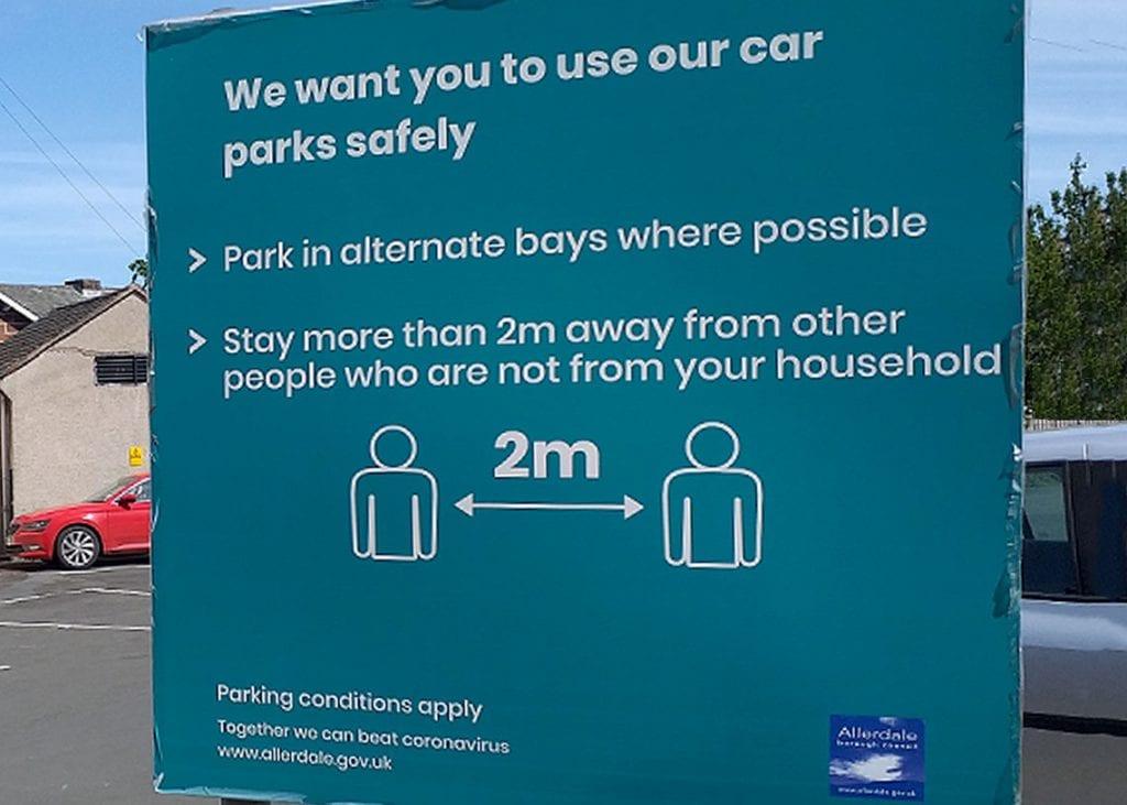 Allerdale Borough Council coronavirus car park signs