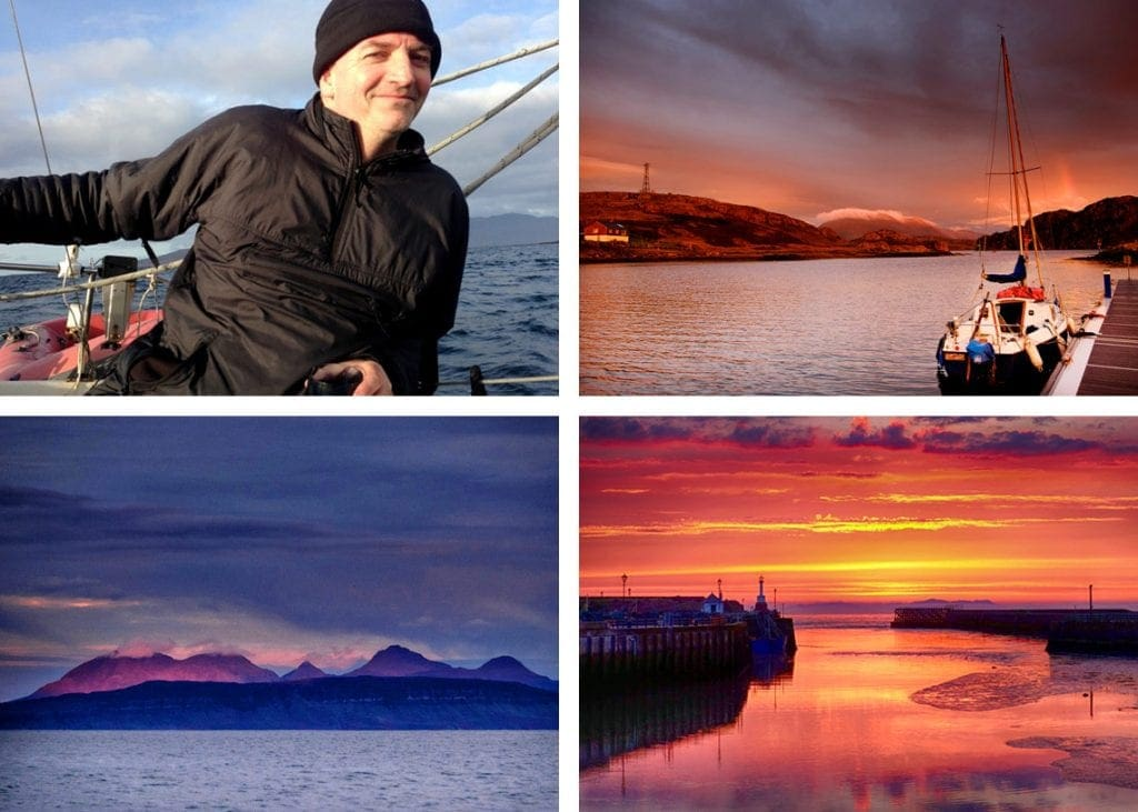 Clockwise from top left: (1) Steve Yates sailing Bethfran. (2) BethFran in Kinlochbervie. (3) Dawn over the Cuillin of Rhum. (4) Maryport harbour on eve of departure.