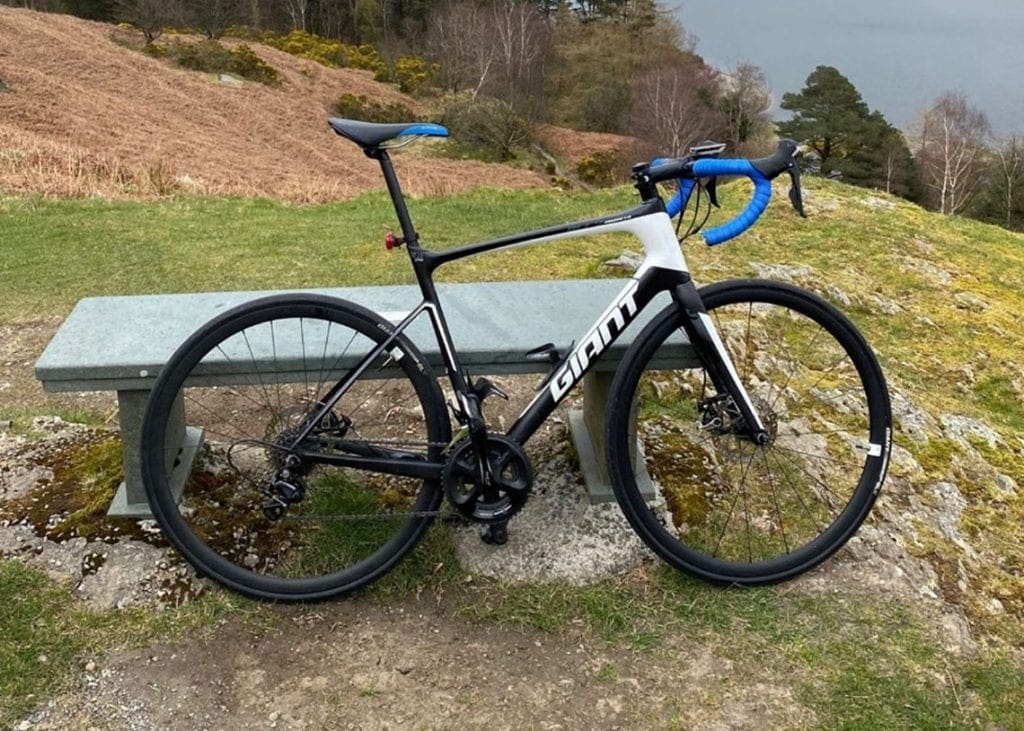 Black and white Giant Defy bike stolen in Keswick on 30th April 2020.