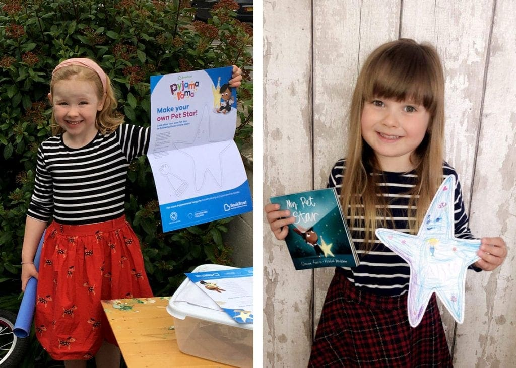 (Left) Finding out what's in her activity pack is exciting for Evelyn. (Right) Allie with the star from her activity pack.