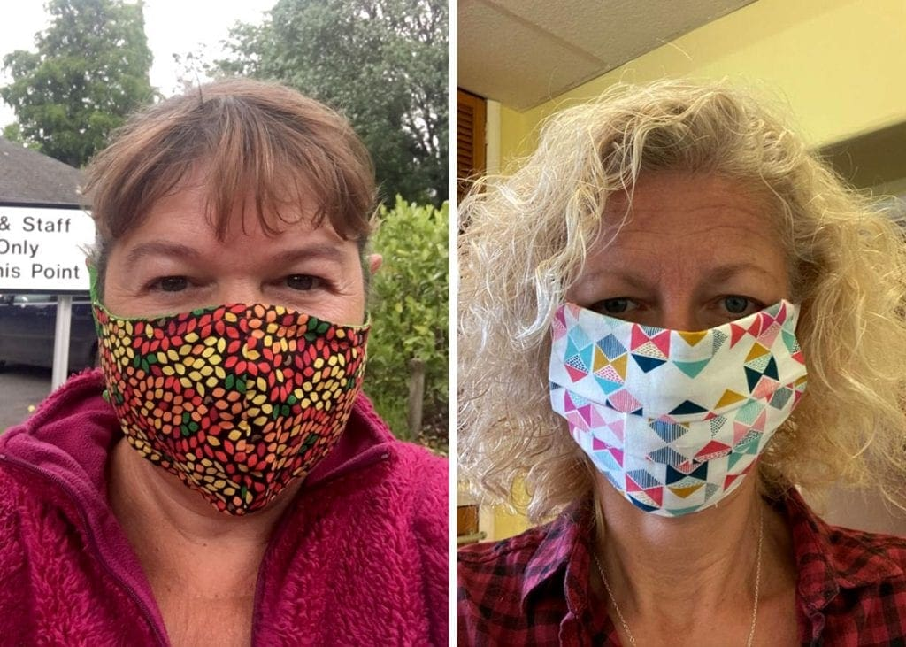 Pictured are Tina Appleby (left) and Pearl Pinnick (right) sporting their bespoke face coverings