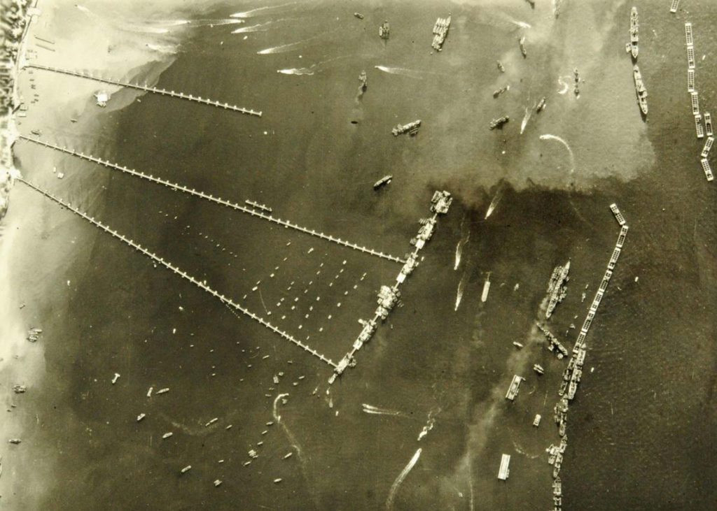 An aerial shot of The Mulberry harbour