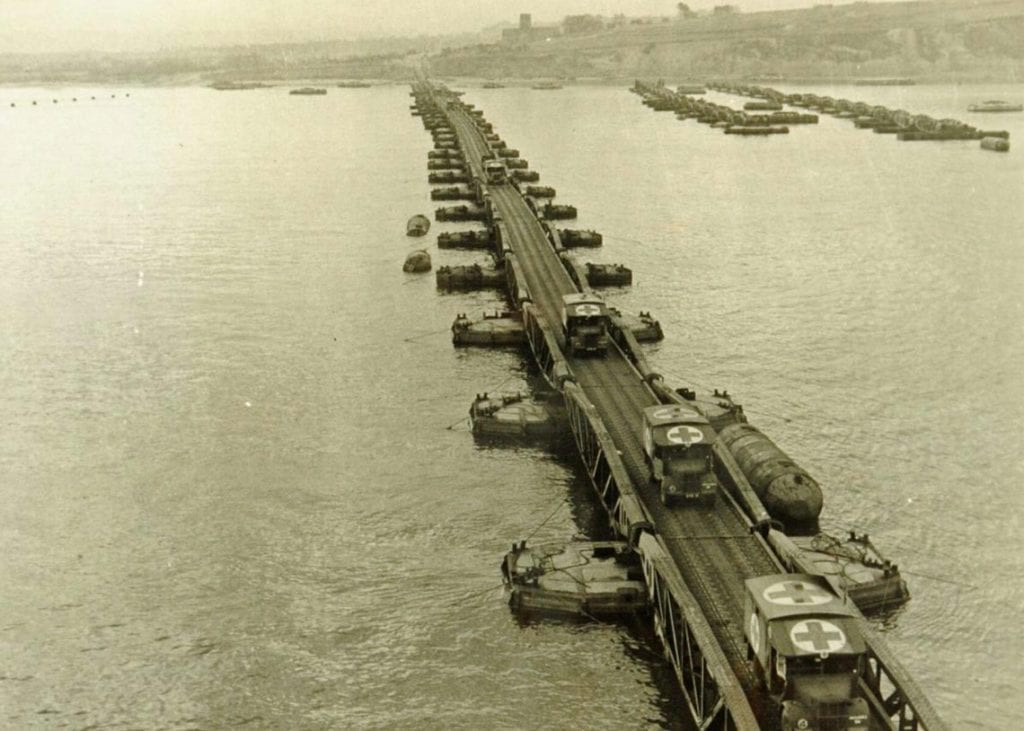 Ambulances travelling across The Mulberry harbour