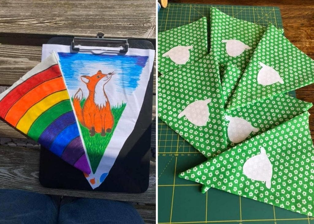 Examples of buntings completed so far. Join the Facebook group to see more.