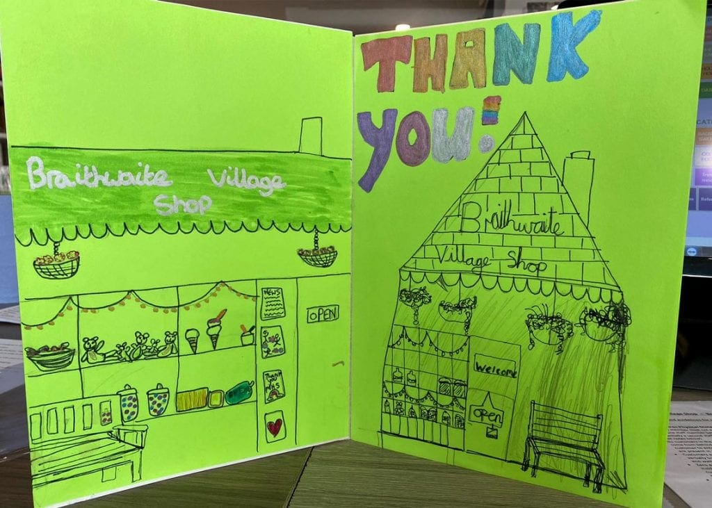 The 'thank you' card made for the shop volunteer group by Braithwaite children