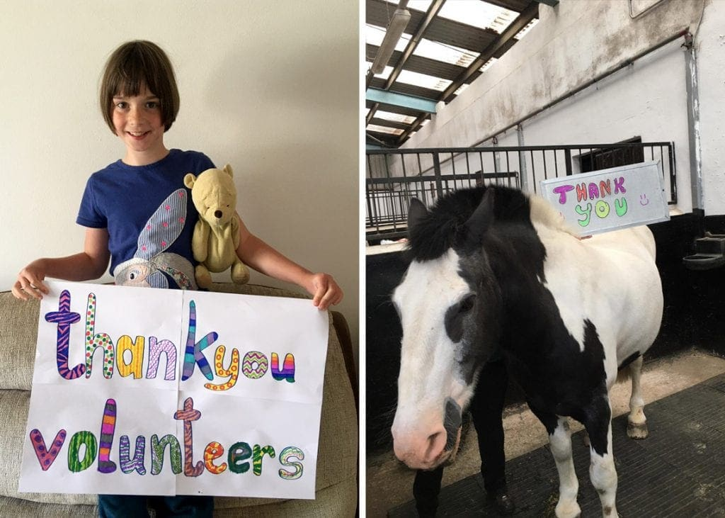 (Right) Young rider Robyn, from the Pony Club, saying thank you to the volunteers. (Left) Mischief saying thank you in his own way.
