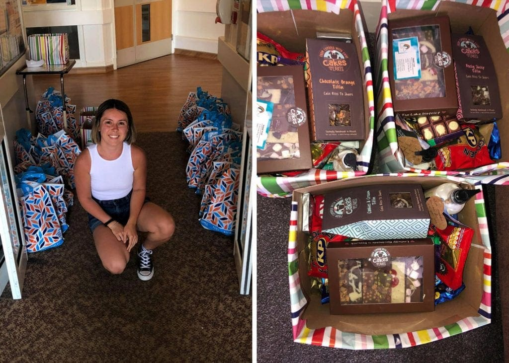 (Left) Jasmine leaving the bags at the entrance to Keswick Hospital. (Right) Jasmine also made up three hampers for the Community Staff to dip into.