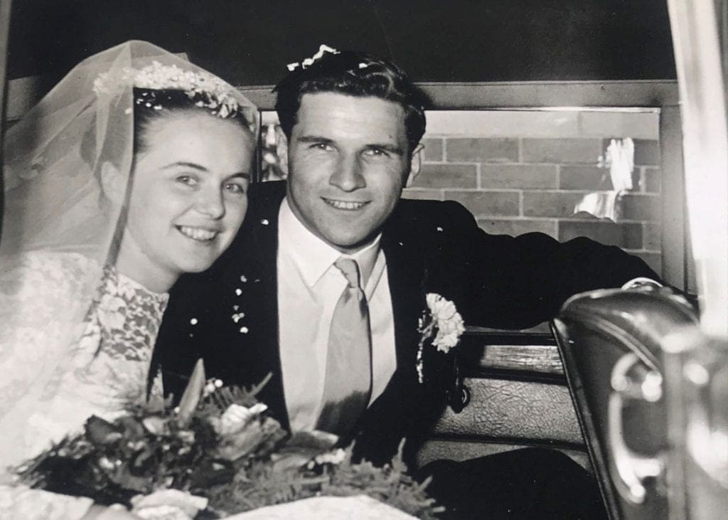 Muriel and Robert Strachan on their wedding day in May 1960. Photo Strachan Family.