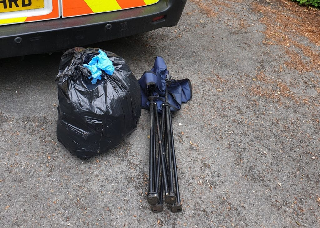 A bin bag full of rubbish collected at Thirlmere